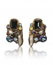 Ella K One-of-a-Kind Pearl and Swarovski Crystal Clip Earrings