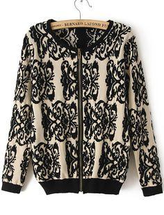 Black Long Sleeve Vintage Floral Knit Sweater CHF$30.23