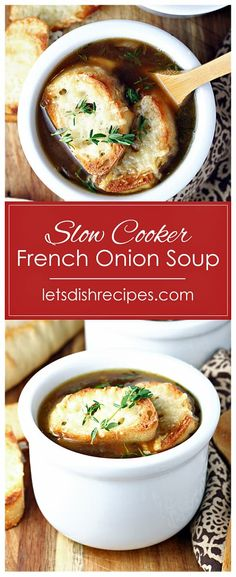 Simple Slow Cooker French Onion Soup Recipe -- Onions are caramelized in the slow cooker, then combined with beef broth in this easy soup recipe. Topped off with toasted baguette slices and melted cheese, this simple soup is sure to become a family favorite. #soup #slowcooker #onions #recipes
