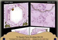 Lilac Roses Fancy 7x7inch Easy Envelope Mini Kit on Craftsuprint - Add To Basket!