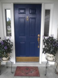 Nautical Navy Blue paint from Lowe's and Anchor Door Knocker from Wellscove.com