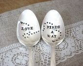 Love Finds A Way - Hand Stamped Spoon - Long Distance Relationships -  Every Day Vintage, Valentines Day 2013