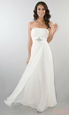 Floor Length Strapless Dress at PromGirl.com #fashion #prom #dresses