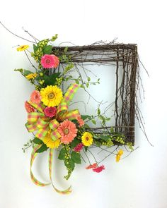 Square Spring Wreath Square Wreath Rustic Wreath Woodland Wreath Garden Wreath Gerber Daisy Wreath Rustic Door Decor by SouthernCharmWreaths $110.00 USD