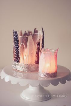 Feathered Votive Holders #feathers #DIY