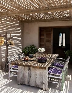 Dining Room entirely made of wood - From the house Casa Castiglioni from Formentera Island, Spain