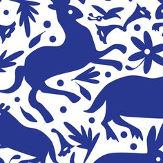 Mexico Springtime: Cobalt on White (Large Scale).   Fabric not embroidered