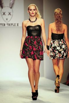 Floral and leather combo spring dress