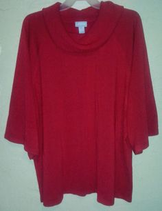 Liz & Me Red Sweater Wide Sleeves Cowl Neck Plus Size Women 4x5x 30/32 Holiday #LizMe #PlusSize