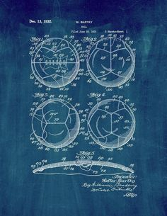 "Amazon.com: Soccer Ball Patent Print Art Poster Midnight Blue (8.5"" x 11""): Posters & Prints"