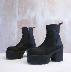 3acd16c7d40d RESERVED vintage 90 s black GOTH grunge 4 inch heels flatform platform  leather boots women s 38 euro 7 1 2 us