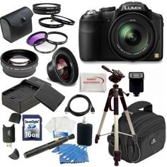 Panasonic Panasonic Lumix FZ200 Digital Camera w/ Advanced Lens Package, Includes 0.45x Wide Angle Lens, 2x Telephoto Lens, 3 Piece Filter Kit, 4 Piece Macro Kit and much much more...