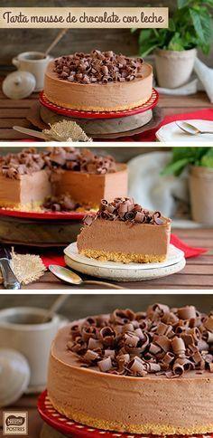 Ingredientes  2 tabletas de Chocolate con Leche NESTLÉ Postres 150 g de galleta tipo María 75 g de mantequilla 600 ml de nata líquida para montar 4 hojas de gelatina