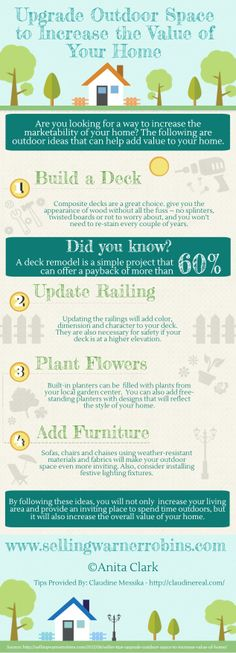 Upgrade Outdoor Space to Increase the Value of Your Home   #RealEstate #Home #infographic