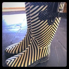 Black & white striped & dotted rain boots Target rain boots, used but lots of life left, cute details, stripes, dots & side straps. Target  Shoes Winter & Rain Boots