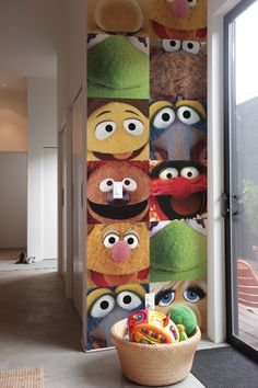 Stick--up wall decals are the hottest decor of choice for kids rooms okay, I know this is the muppets, and I did not take these pictures, but it's a cool concept that would work with close up portraits too! ProDPI has fabric wall clings perfect for this! Patterned Wall Tiles, Kitsch, Wall Decals, Wall Art, Wall Patterns, Decoration, Nursery, Cool Stuff, Kid Stuff