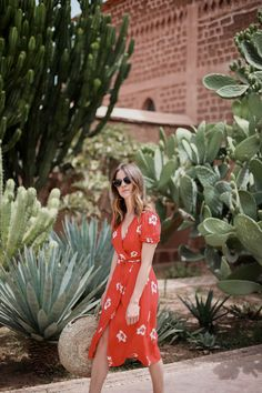 The wrap dress has been everywhere this summer, from high end to high street. I packed this red one from Reformation on our recent trip to Marrakech. Blazer Dress, Dress Skirt, Shirt Dress, Flower Dresses, Nice Dresses, Sun Dresses, Red Wrap Dress, Spring Summer Fashion, New Dress