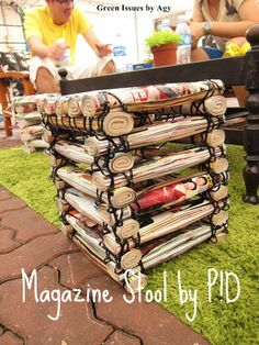 Stool Made From Upcycled Magazines & Cable Ties Recycled Furniture Recycling Paper & Books Paper Furniture, Retro Furniture, Recycled Furniture, Recycled Crafts, Diy Crafts, Furniture Ideas, Recycled Jewelry, Furniture Stores, Book Crafts