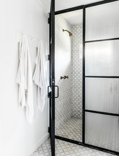 Roberto Sosa Hawaii Beach House Bathroom Shower with Steel Frame Door