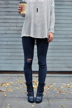 fall outfit, moto boots, ripped black skinny jeans, striped sweater