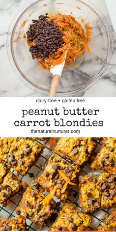 These One-Bowl Peanut Butter Carrot Blondies are rich, super fudgy, and seriously delicious! Made with just 8 real food ingredients and in one bowl, too boot! Egg free, vegan, gluten free, dairy free, but a total crowd pleasing treat for all eating styles! #easyblodnies #realfoodblondies #carrotrecipesforkids