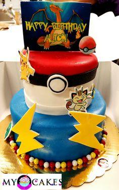 Pokemon theme birthdsy cake