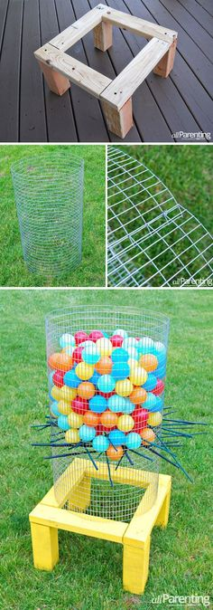 Giant Kerplunk game for the yard  Fun for kids and adults    Yard     32 Fun DIY Backyard Games To Play  for kids   adults