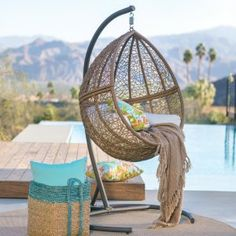 Island Bay Tanna Tear Drop Resin Wicker Egg Chair with Cushion and Stand - Hammock Chairs & Swings at Hayneedle