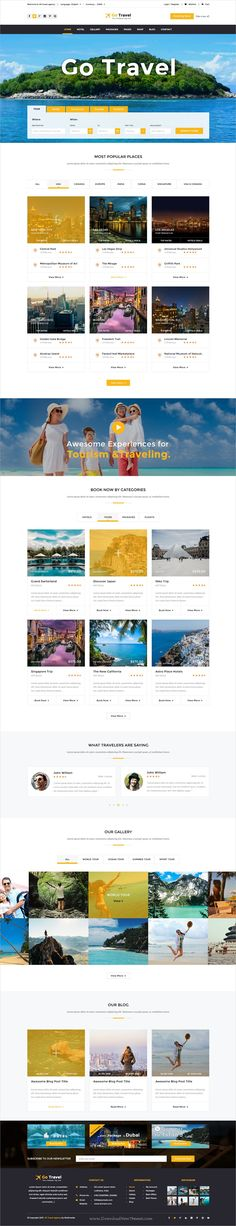 Buy Travel PSD Template by TmdStudio on ThemeForest. Travel PSD Template gives you all the option to make your visitor to into customer and increase your sell. Travel Agency Website, Travel Website Design, Travel Design, Creative Web Design, Web Design Tips, Website Layout, Web Layout, Corporate Website Templates, Hotel Website