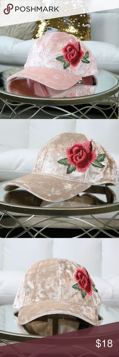 Crush Velvet Rose Embroidered Cap 'Blush' Limited Stock! Adjustable Velcro strap in the back.Color: Blush. Also available in nude!(This listing is for the Blush.)  Material:  100% Polyester Jaded Affairs Accessories Hats