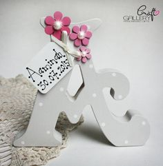 Made by CraftGallery... https://www.facebook.com/CraftGalleryPersonalisedGifts Handmade Personalised Freestanding letter in ivory with pink flowers, Handmade letter, keepsake, personalise gift, personalised decorations, home decor