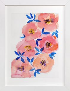 Blue with some pops of color! Tenderness by Alexandra Dzh at minted.com