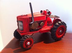 Metal Tractor Miniature Toy - 1950s Farm Machinery Red Vintage Retro Work Vehicle Decoration - Tin Toy Car