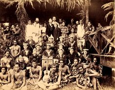 Robert Louis Stevenson with family, friends, and the band of HMS Tauranga at Vailima, Samoa, circa Photograph taken by Alfred John Tattersall. Samoan People, Robert Louis Stevenson, Tonga, Cook Islands, South Pacific, Papua New Guinea, Fiji, Tahiti, Historical Photos
