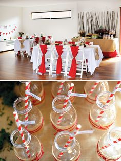milk jugs wrapped in burlap and red yarn and woodsy, rustic tablescapes