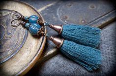 boho gipsy tassel earrings • long earrings • glass beads • copper earrings • nomad • tribal earrings • blue earrings • ethnic jewelry