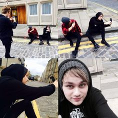 Ashton taking a picture of Luke taking a picture of Calum taking a picture of Michael taking a picture of himself