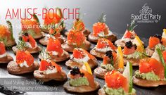 Mixed platter blini salmon Mini Appetizers, Food Platters, Appetisers, Caviar, Food Styling, Sushi, Salmon, Food Photography, Ethnic Recipes
