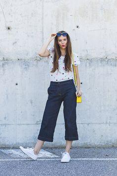 Culotte di jeans e pois: un look da non ho voglia di vestirmi!