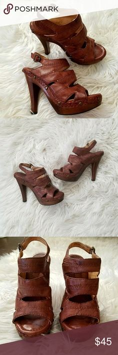 FRYE Dara Campus Stitch Heels Beautiful heels! Slight discoloration on the wooden platform of one of the shoes which is reflected in the price but other than that the shoes are in great condition! Frye Shoes