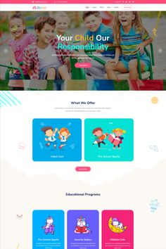 Kidzo is a creative best kids & children learning & activities WordPress Theme. This WordPress theme is targeted for kids, children – their education, schooling, and other activities. Minimal Web Design, Ui Design, Brand Design, Kids Learning Apps, Learning Activities, Wordpress Theme Design, Web Design Services, Educational Programs, Landing Page Design
