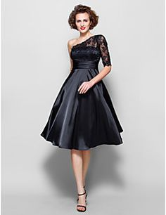 LAN TING BRIDE A-line Plus Size Petite Mother of the Bride Dress - See Through Knee-length Half Sleeve Lace Stretch Satin withBeading – USD $ 300.00