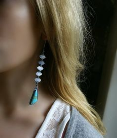 RESERVED - Layers of Paradise - Kingman Turquoise Sterling Silver Earrings