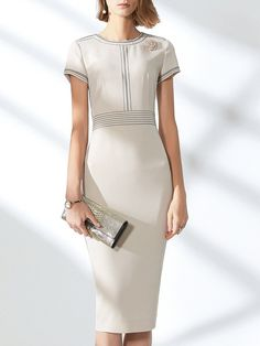 b5a0677e Stylewe Formal Dresses Summer Dresses Work Bodycon Crew Neck Zipper Short  Sleeve Elegant Dresses