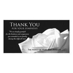 Shop Rose Sympathy Thank You Memorial Photo Card created by sympathythankyou. Thank You Verses, Sympathy Thank You Notes, Custom Thank You Cards, Wedding Thank You Cards, 50th Birthday Balloons, Funeral Guest Book, Funeral Thank You, Memorial Cards, Thank You Photos