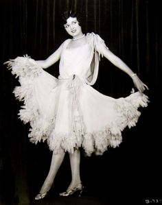 Silent film actress Mary Astor posing in a fun frock, c. 1920s.
