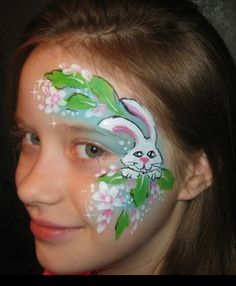 Easter bunny face paint face painting ideas for kids Bunny Face Paint, Easter Face Paint, Clown Face Paint, Face Painting Images, Animal Face Paintings, Face Painting Designs, Mural Painting, Body Painting, Christmas Face Painting