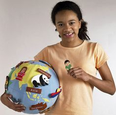 Mini World Globe with Finger Puppets Third Culture Kid, Global Map, Maps For Kids, World Globes, Finger Puppets, Play To Learn, Felt Crafts, Kids Playing, Children