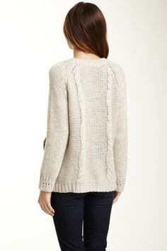 perfectly plain garter knit cardigan with cables on the back <3