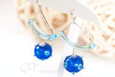 Murano glass bohemian earrings  Light blue by EThandmadeshop